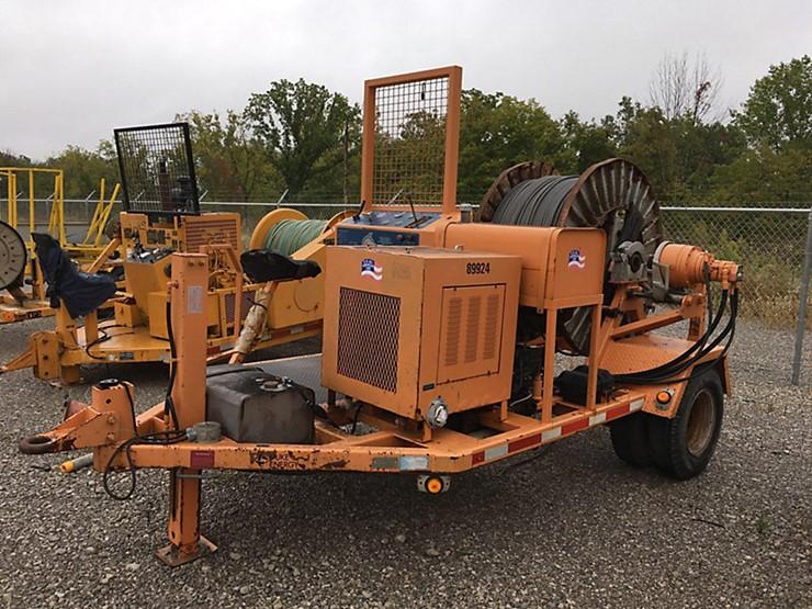 1999 Sherman Reilly PT3366 Single Drum Puller Kubota Diesel With Hydraulic Level Wind Rope Trailer Mtd