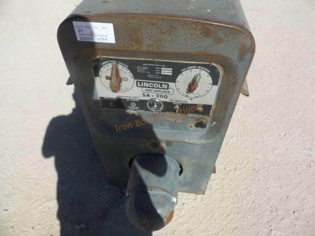 Lincoln Electric Sa 200 Lot 326 Equipment Auction 4 10 2018 Welder Iron Bound Auctions Resource