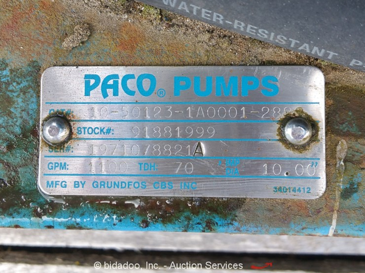 Paco Pumps Baldor 10-50123-1A0001 - Lot #, Online Only