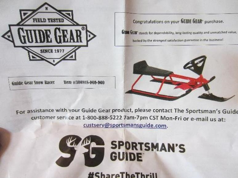 Guide Gear Snow Racer - Lot #2135, Equipment Auction, 8/7