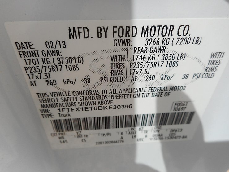 2013 Ford F150 - Lot #37124, Online Only Equipment Auction