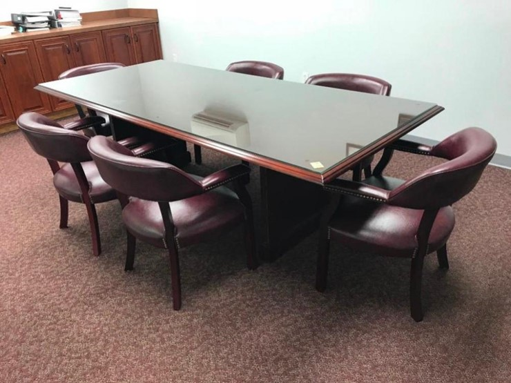 CONFERENCE TABLE AND CHAIRS Lot Equipment Auction - 10 x 4 conference table