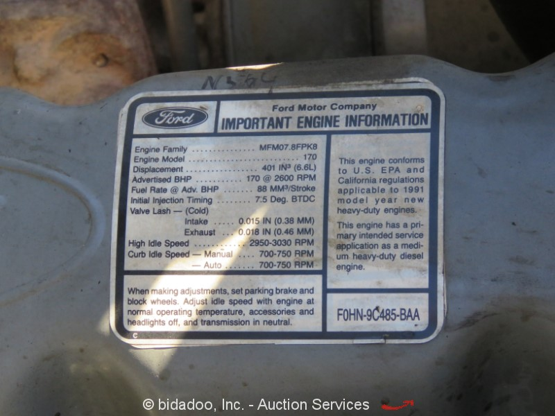1993 Ford F700 - Lot #, Online Only Equipment Auction, 9/13/2018