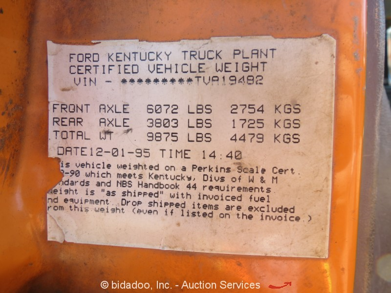 1996 Ford F8000 - Lot #, Online Only Equipment Auction, 10/4/2018