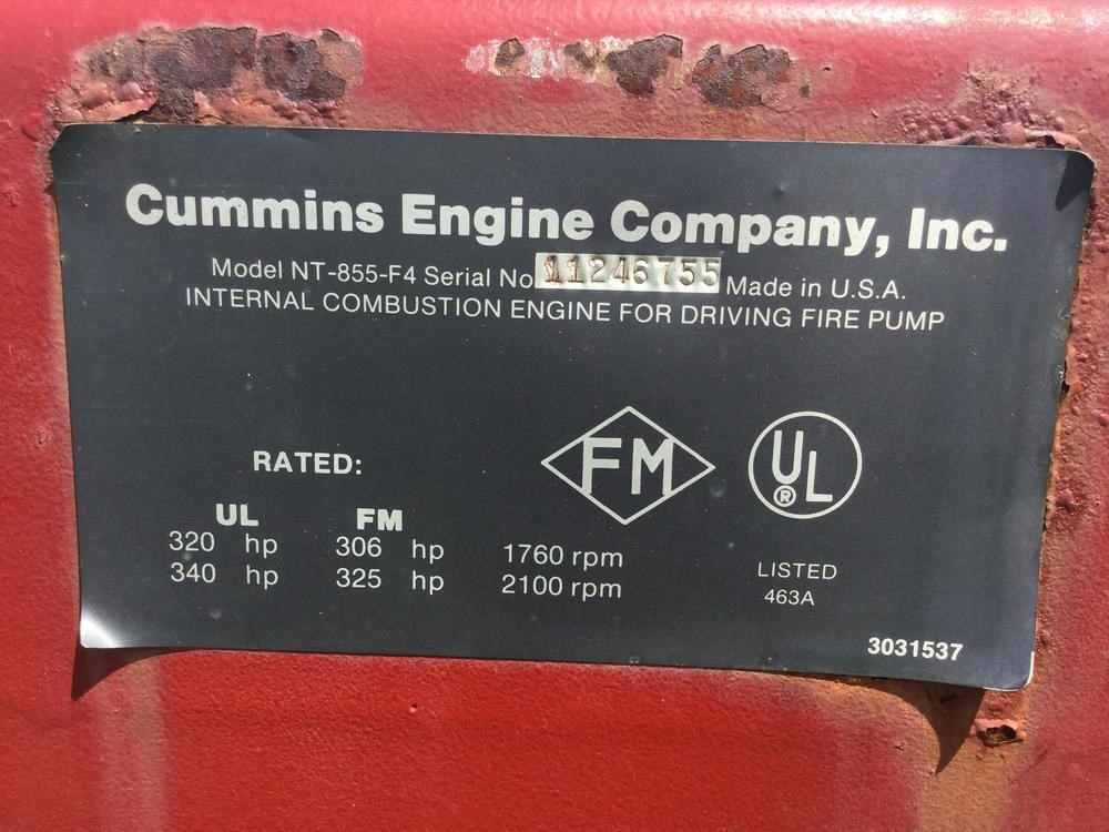 CUMMINS NT855F4 SN: 18103997 - Lot #2624, Four Day Equipment Auction