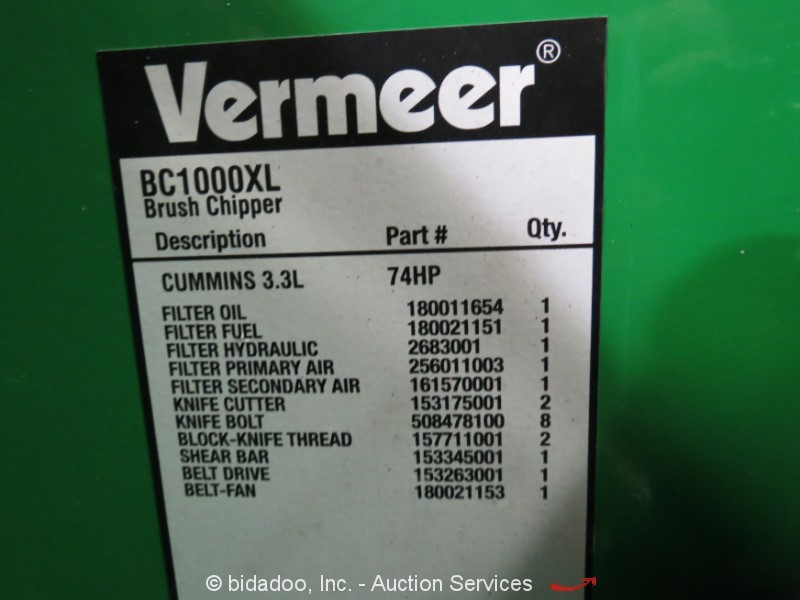 2013 Vermeer BC1000XL - Lot #, Online Only Equipment Auction, 2/28