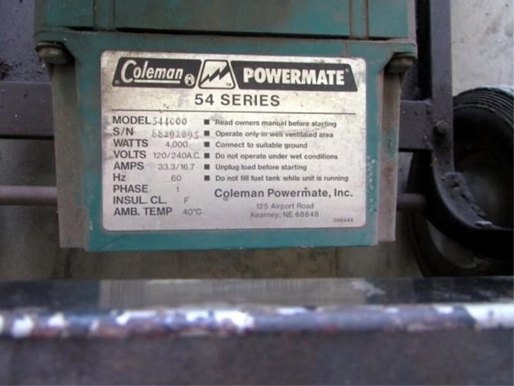 W-809 Coleman Generator - Lot #, Online Only Equipment Auction, 3/12