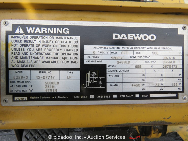 1997 Daewoo G25S-2 - Lot #, Online Only Equipment Auction, 3/14/2019